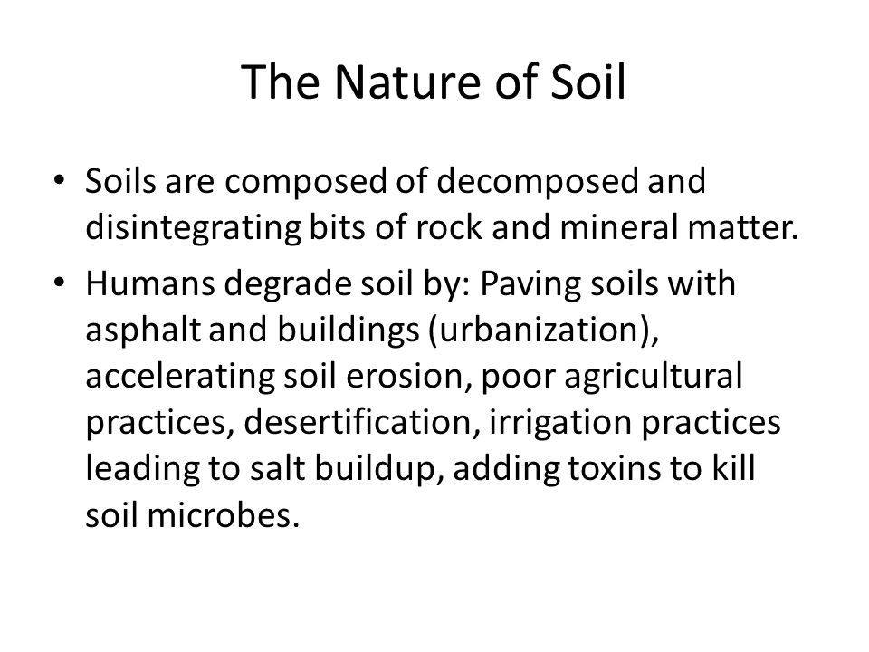 The Nature of Soil Soils are composed of decomposed and disintegrating bits of rock and mineral matter. Humans degrade soil by: Paving soils with asph
