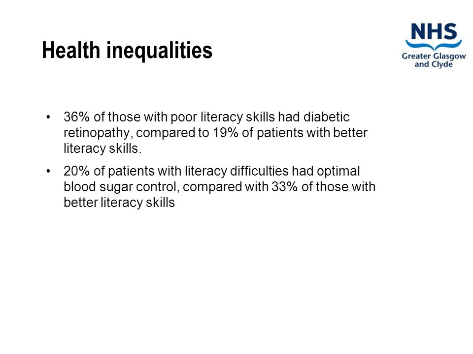 Health inequalities 36% of those with poor literacy skills had diabetic retinopathy, compared to 19% of patients with better literacy skills.
