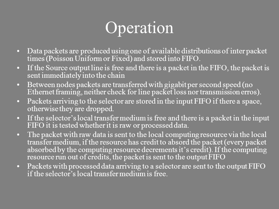 Operation Data packets are produced using one of available distributions of inter packet times (Poisson Uniform or Fixed) and stored into FIFO. If the