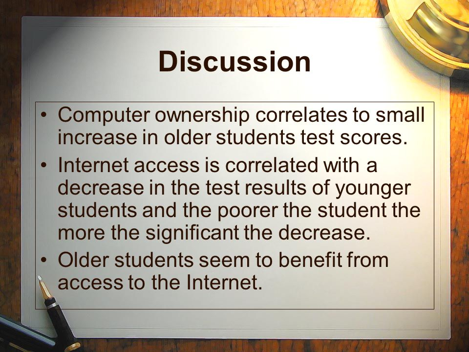 Discussion Computer ownership correlates to small increase in older students test scores.