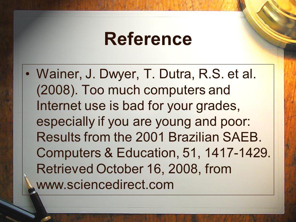 Reference Wainer, J. Dwyer, T. Dutra, R.S. et al.
