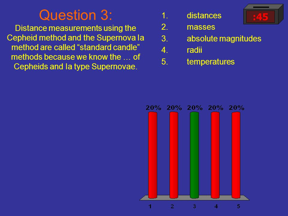 "Question 3: Distance measurements using the Cepheid method and the Supernova Ia method are called ""standard candle"" methods because we know the … of C"