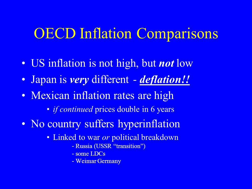 OECD Inflation Comparisons US inflation is not high, but not low Japan is very different - deflation!.