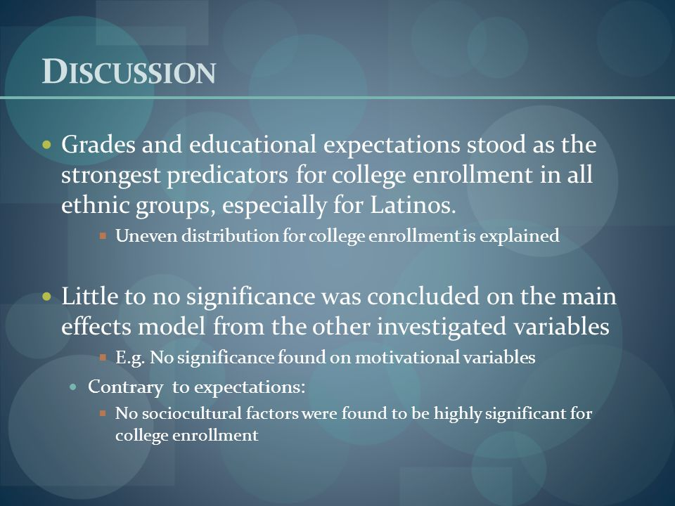 Grades and educational expectations stood as the strongest predicators for college enrollment in all ethnic groups, especially for Latinos.