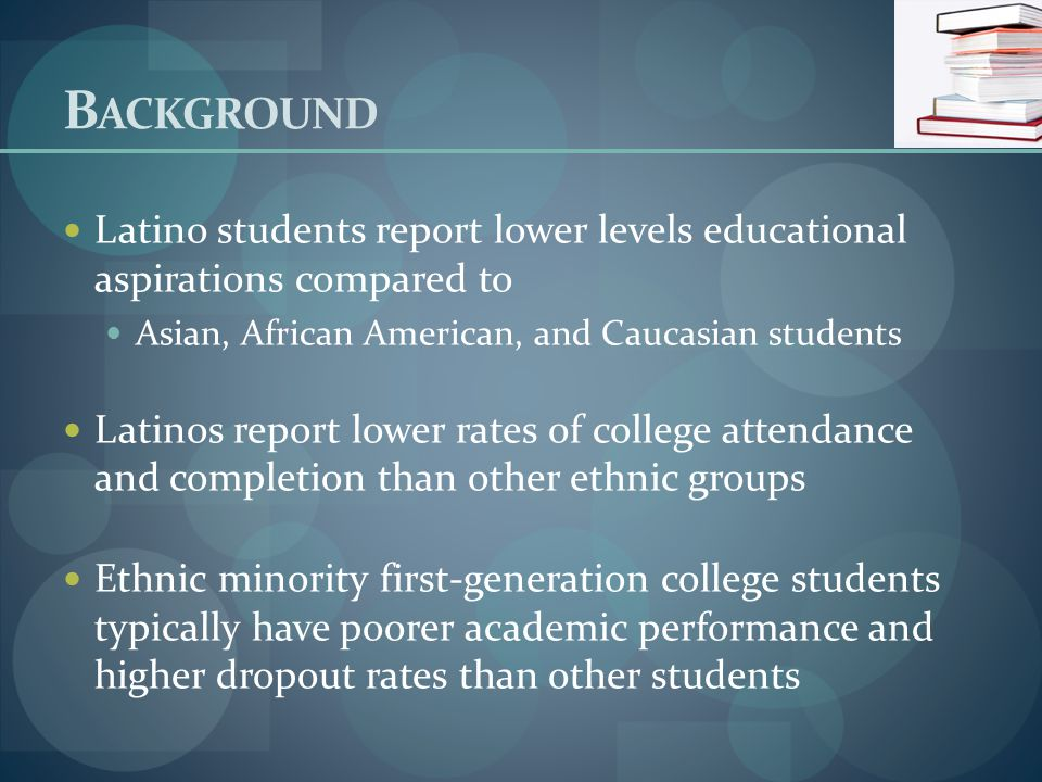 B ACKGROUND The lack of contextual resources such as peer support predicts poorer grades and adjustment Persistent levels of parental support of education were accompanied by elevations in GPA performance For Latinos academic achievement is linked both to individual- and family-level influences.