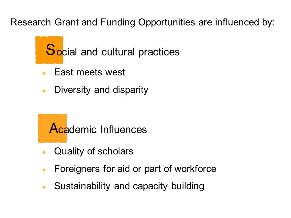 East meets west Diversity and disparity Research Grant and Funding Opportunities are influenced by: Quality of scholars Foreigners for aid or part of workforce Sustainability and capacity building ocial and cultural practices cademic Influences