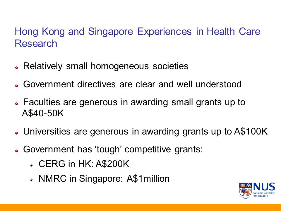 Hong Kong and Singapore Experiences in Health Care Research Relatively small homogeneous societies Government directives are clear and well understood