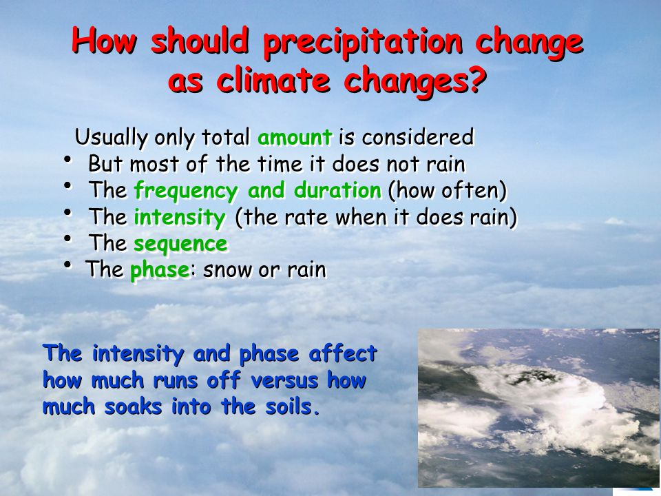 How should precipitation change as climate changes.