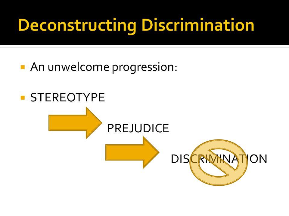  An unwelcome progression:  STEREOTYPE PREJUDICE DISCRIMINATION