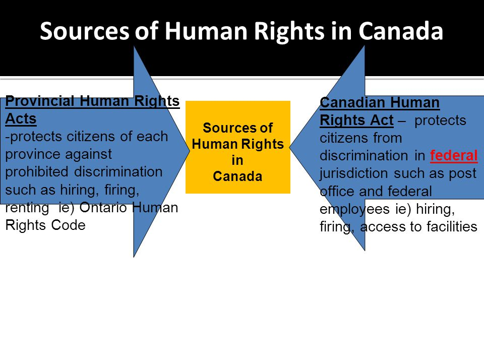 Sources of Human Rights in Canada Canadian Human Rights Act – protects citizens from discrimination in federal jurisdiction such as post office and federal employees ie) hiring, firing, access to facilities Provincial Human Rights Acts -protects citizens of each province against prohibited discrimination such as hiring, firing, renting ie) Ontario Human Rights Code Sources of Human Rights in Canada