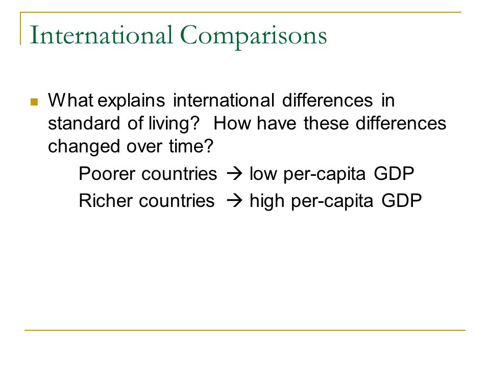International Comparisons What explains international differences in standard of living.