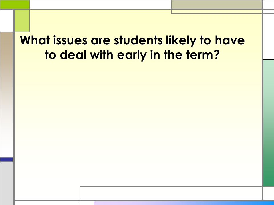What issues are students likely to have to deal with early in the term