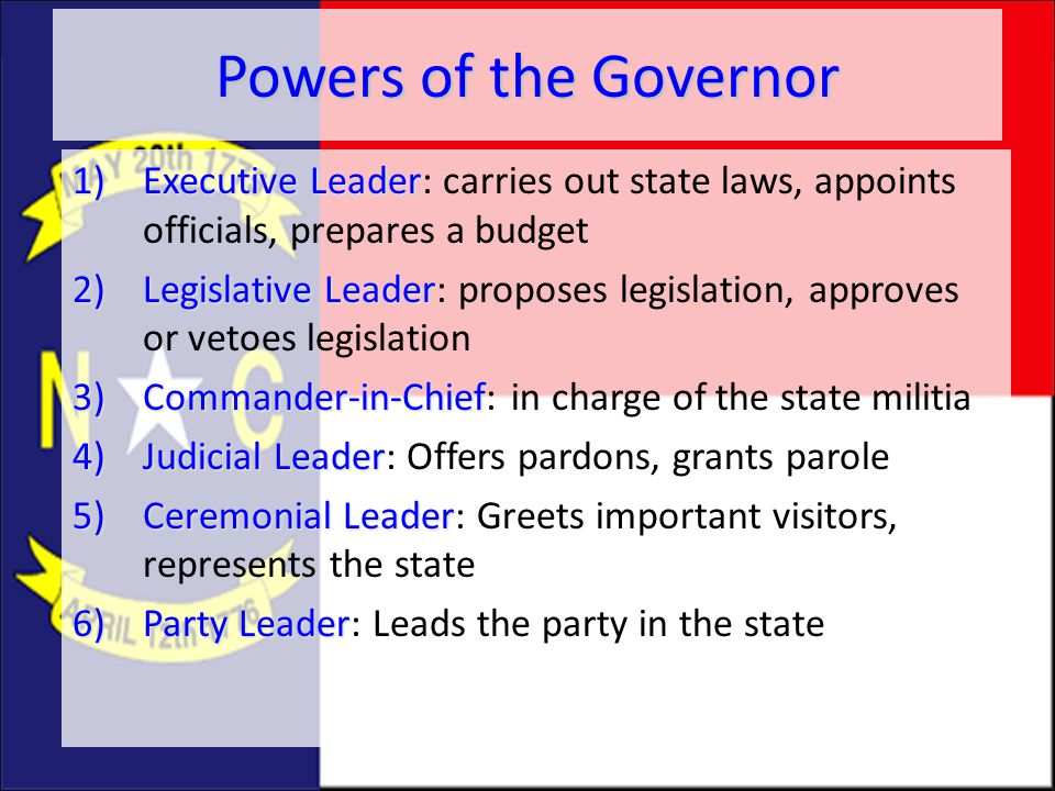 Powers of the Governor 1)Executive Leader 1)Executive Leader: carries out state laws, appoints officials, prepares a budget 2)Legislative Leader 2)Leg