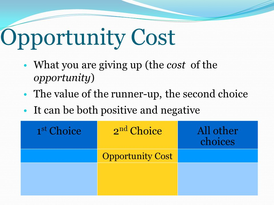 Opportunity Cost What you are giving up (the cost of the opportunity) The value of the runner-up, the second choice It can be both positive and negative 1 st Choice2 nd Choice All other choices Opportunity Cost