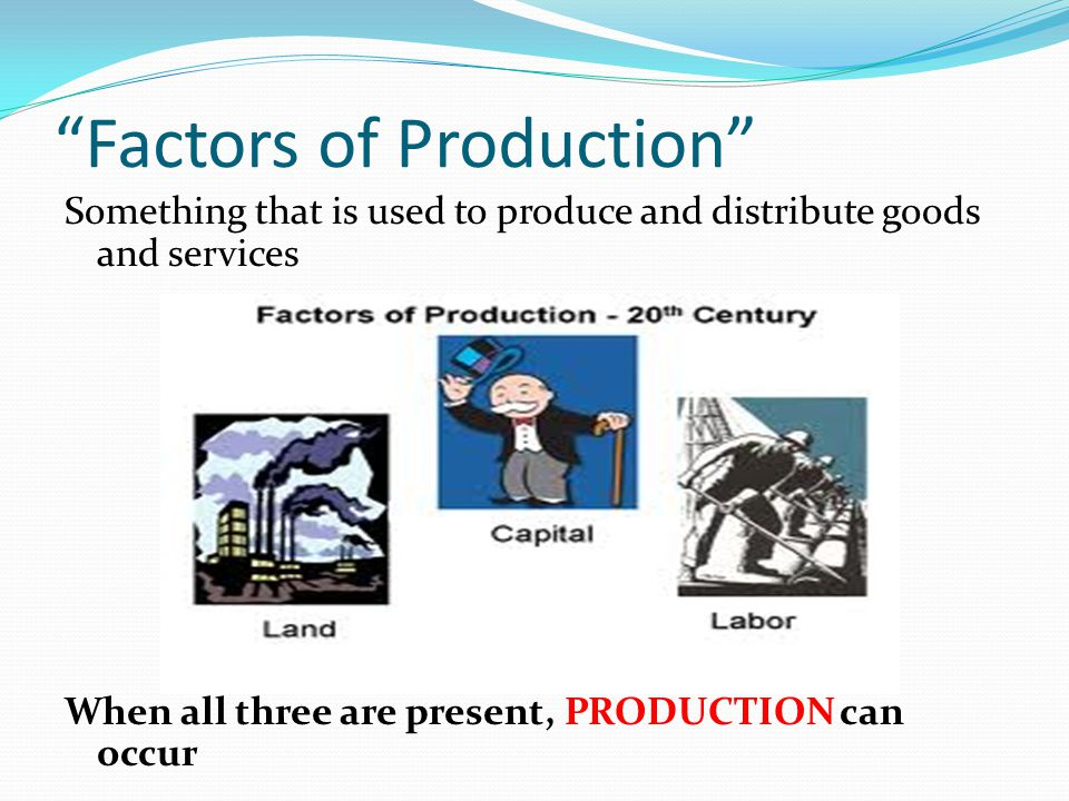 Factors of Production Something that is used to produce and distribute goods and services When all three are present, PRODUCTION can occur