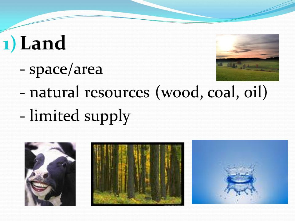1) Land - space/area - natural resources (wood, coal, oil) - limited supply