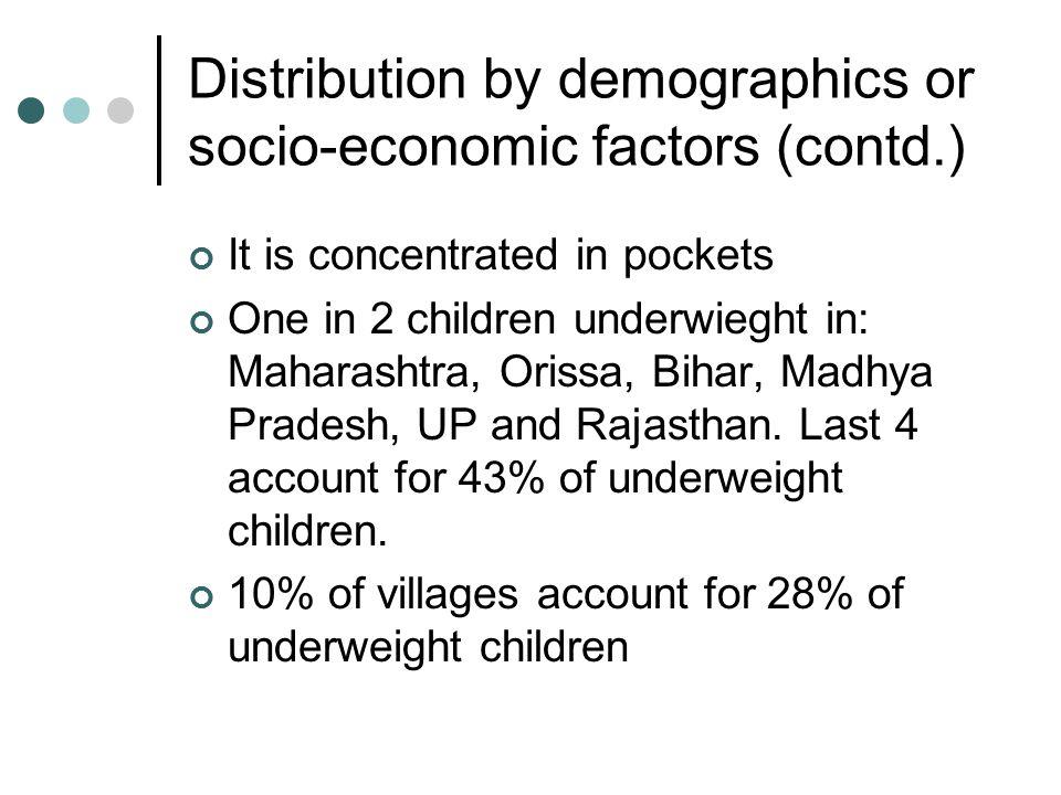 Micronutrient deficiencies Preschool children: 75% (iron) 57% (Vit.A) 87% of pregnant women have anemia Distribution across demographic and socio-economic factors similar to underweight