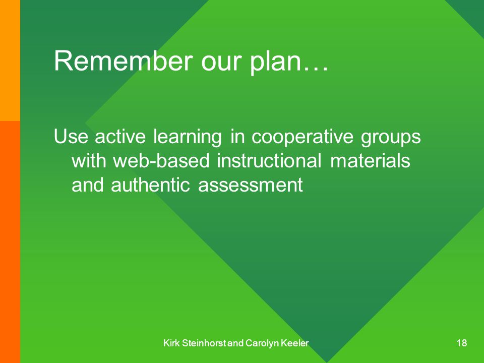 Kirk Steinhorst and Carolyn Keeler 18 Remember our plan… Use active learning in cooperative groups with web-based instructional materials and authentic assessment