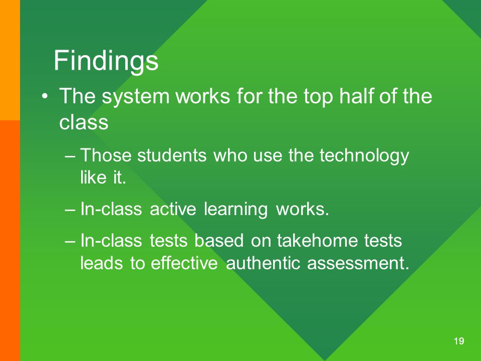 19 Findings The system works for the top half of the class –Those students who use the technology like it.