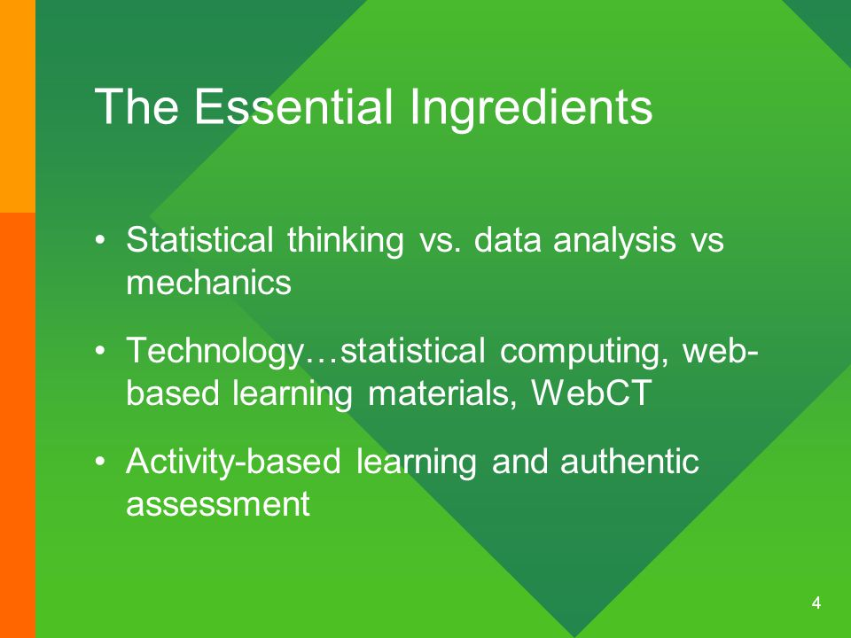 Kirk Steinhorst and Carolyn Keeler 5 Course goals-Statistics and Probability Statistical literacy Probability as needed in other courses Statistical numeracy (ability to calculate things and draw graphs Ability to apply statistics in professional life and in public life