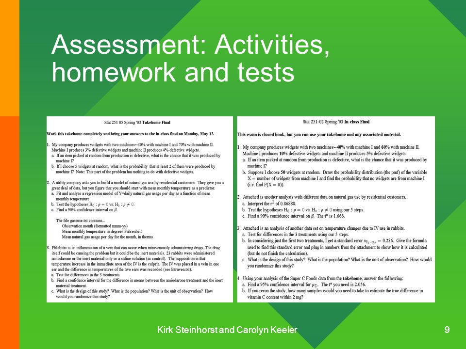 Kirk Steinhorst and Carolyn Keeler 9 Assessment: Activities, homework and tests