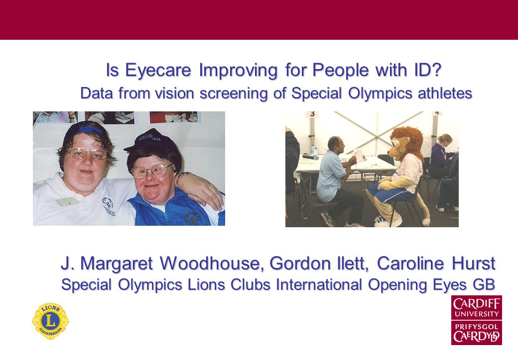 Background Compared to the general population, people with intellectual disability: Are less likely to access regular eye tests Are more likely to need to wear glasses Are more likely to have eye conditions that are left untreated