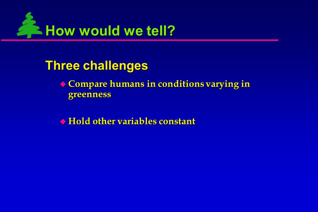  Compare humans in conditions varying in greenness How would we tell? Three challenges