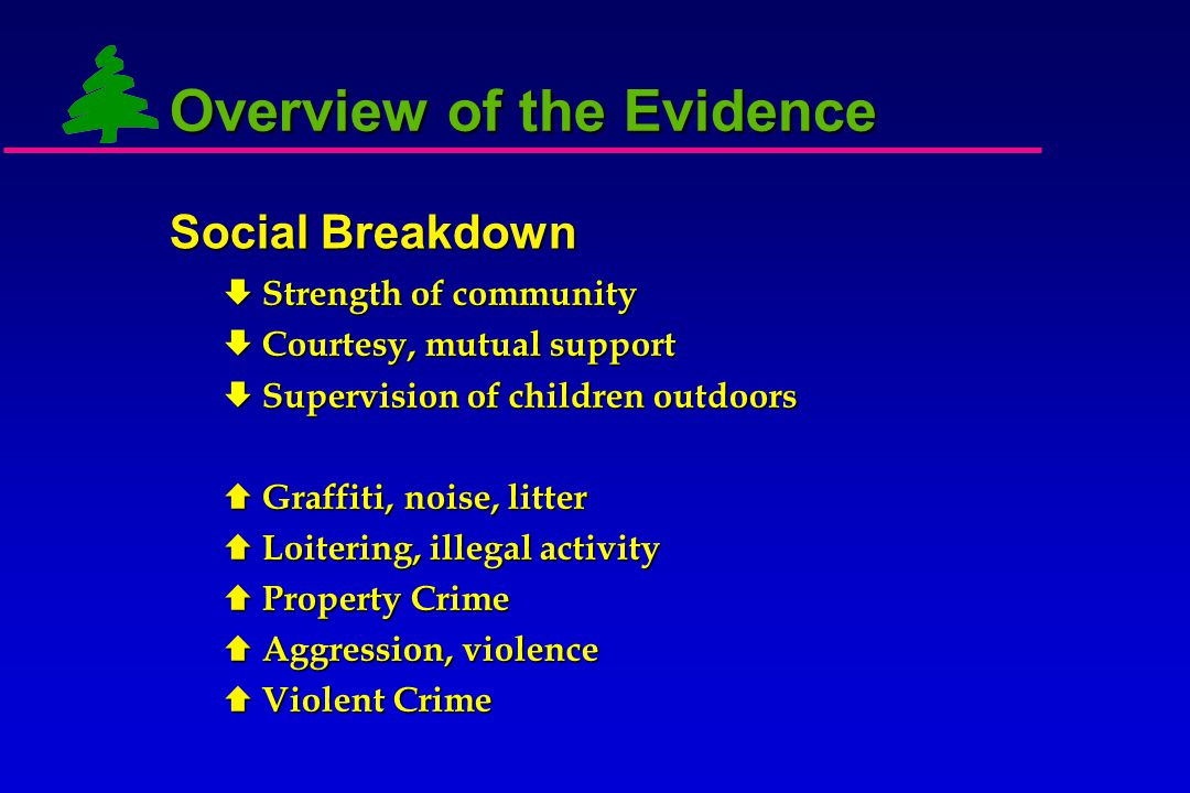 Overview of the Evidence  Significantly more total aggression, physical aggression, violence, and severe violence in low green buildings  Aggression tied to mental fatigue  Significantly more total crime, property crime, violent crime in low green buildings –  Explains 7% of variance in crime Aggression, Crime