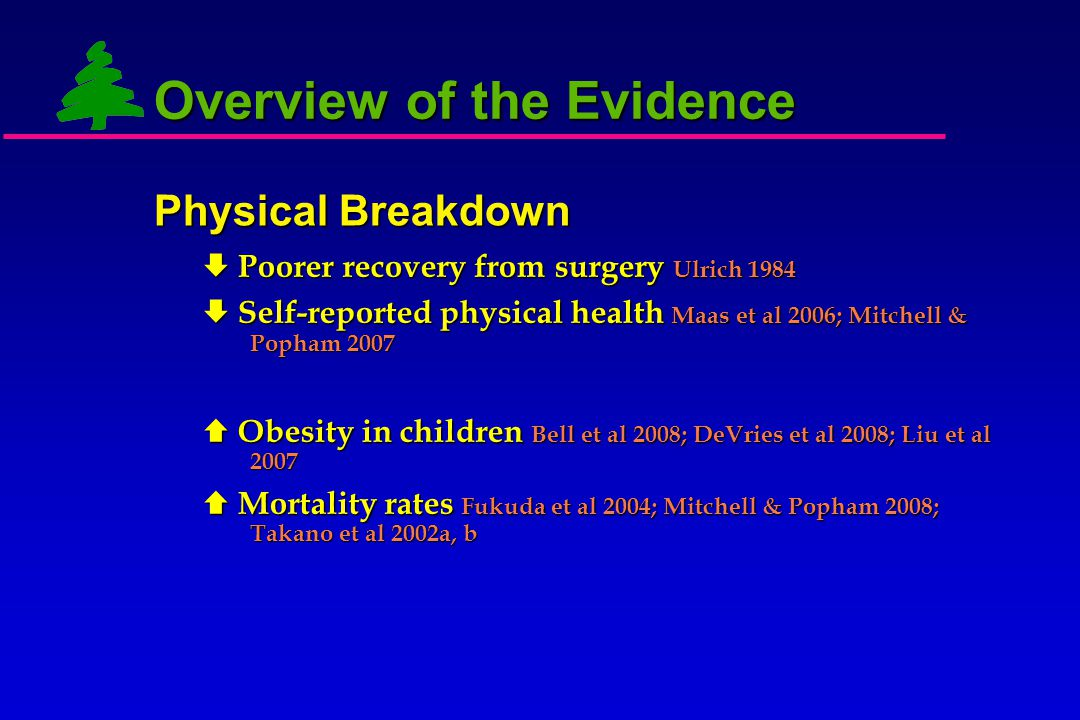 Physical Breakdown  Poorer recovery from surgery  Self-reported physical health  Obesity in children  Mortality rates Overview of the Evidence