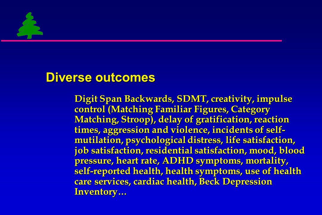 Diverse outcomes