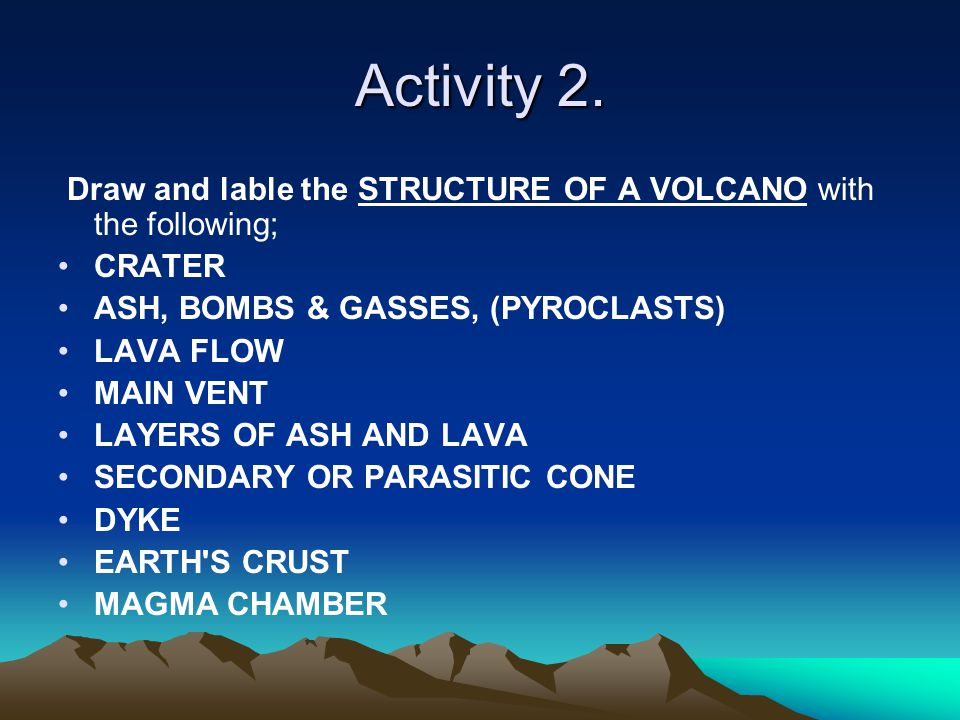 Activity 2. Draw and lable the STRUCTURE OF A VOLCANO with the following; CRATER ASH, BOMBS & GASSES, (PYROCLASTS) LAVA FLOW MAIN VENT LAYERS OF ASH A