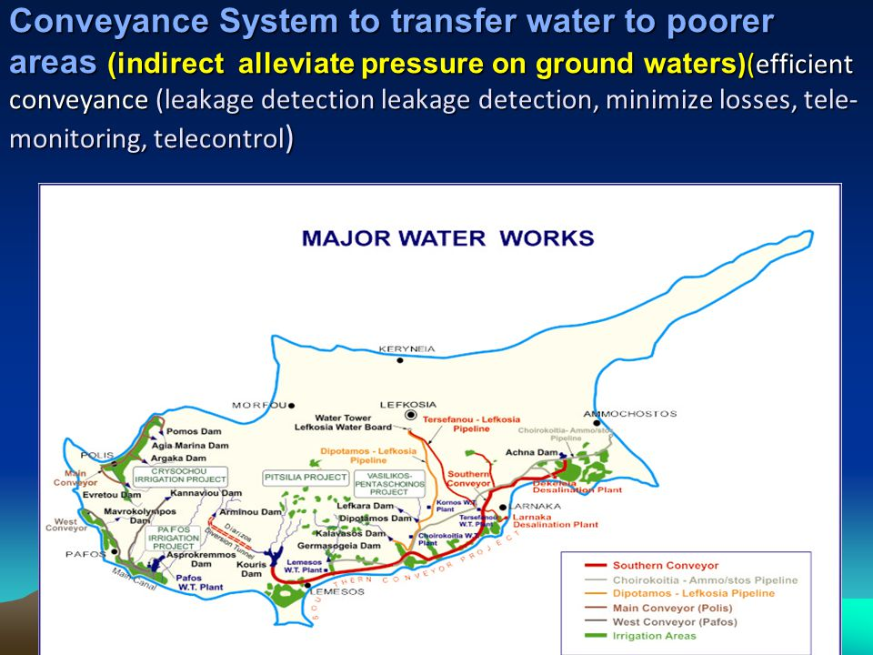 16 Conveyance System to transfer water to poorer areas (indirect alleviate pressure on ground waters )(efficient conveyance (leakage detection leakage