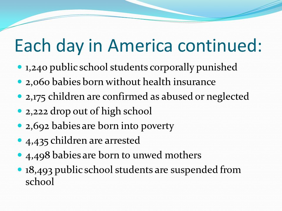 Each day in America continued: 1,240 public school students corporally punished 2,060 babies born without health insurance 2,175 children are confirmed as abused or neglected 2,222 drop out of high school 2,692 babies are born into poverty 4,435 children are arrested 4,498 babies are born to unwed mothers 18,493 public school students are suspended from school