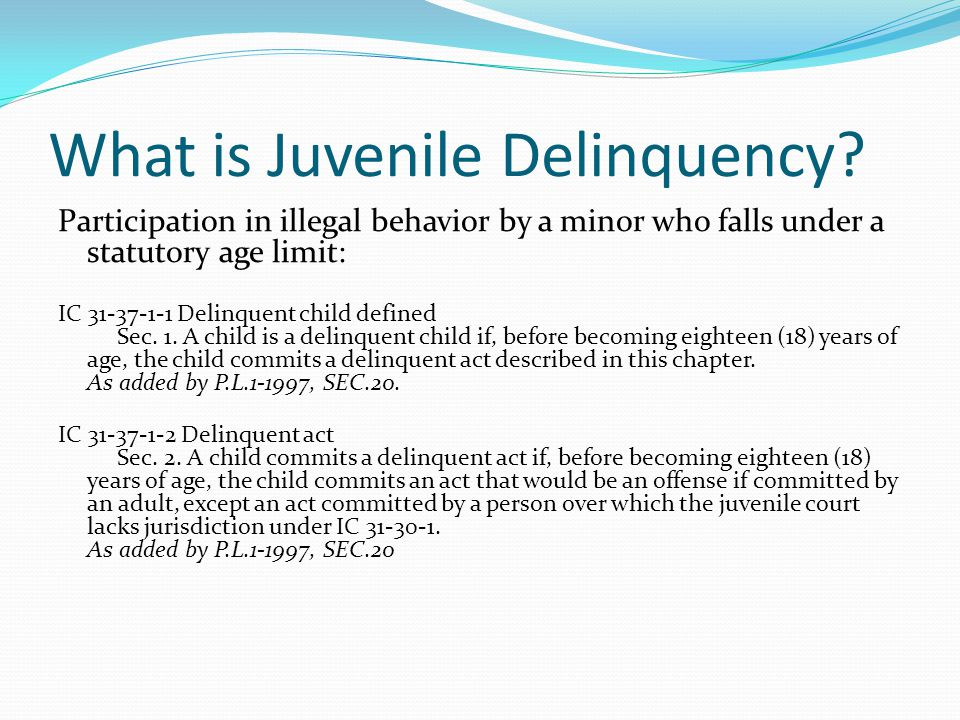 What is Juvenile Delinquency.