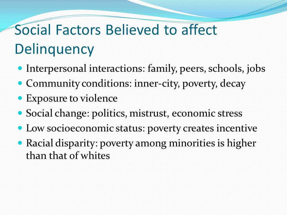 Social Factors Believed to affect Delinquency Interpersonal interactions: family, peers, schools, jobs Community conditions: inner-city, poverty, decay Exposure to violence Social change: politics, mistrust, economic stress Low socioeconomic status: poverty creates incentive Racial disparity: poverty among minorities is higher than that of whites