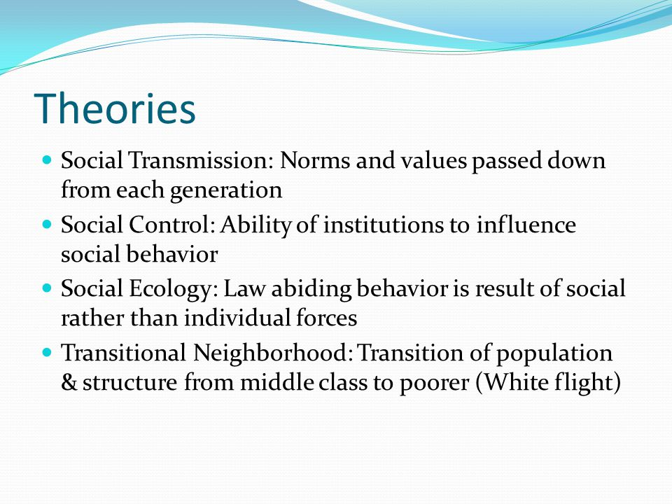 Theories Social Transmission: Norms and values passed down from each generation Social Control: Ability of institutions to influence social behavior Social Ecology: Law abiding behavior is result of social rather than individual forces Transitional Neighborhood: Transition of population & structure from middle class to poorer (White flight)