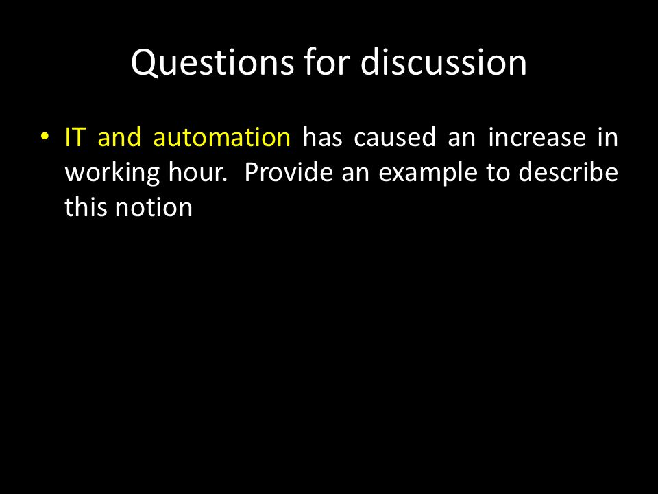 Questions for discussion Telework describes employees work away from traditional place of work (e.g.