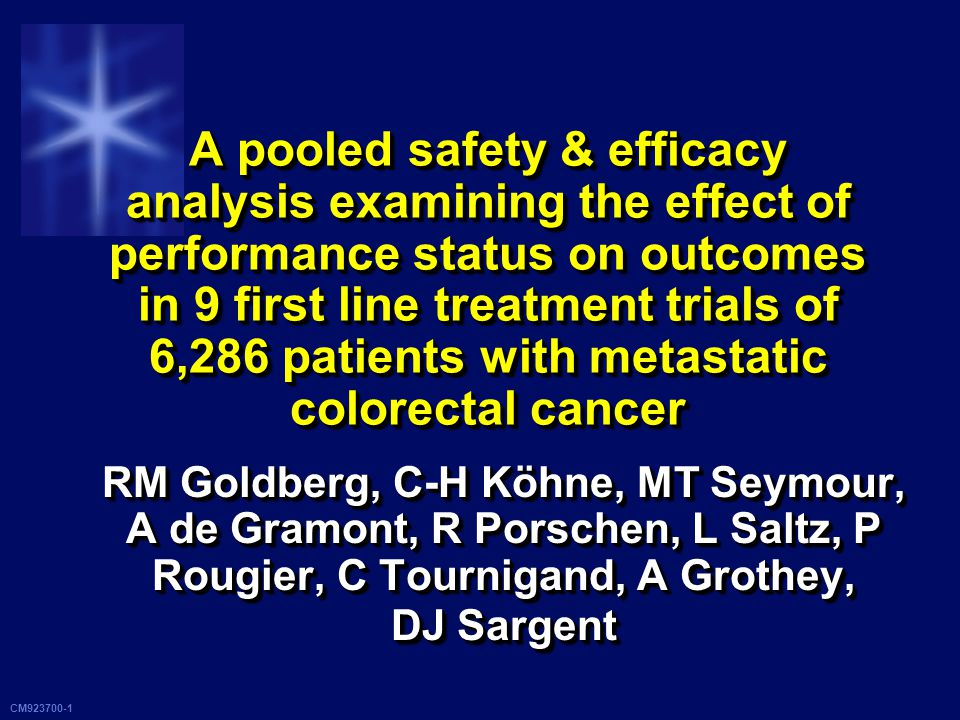 CM923700-2 BackgroundBackground PS is a known prognostic factor PS is a known prognostic factor Many trials exclude ECOG PS > 2 pts Many trials exclude ECOG PS > 2 pts Phase III studies: usually < 10% PS 2 pts Phase III studies: usually < 10% PS 2 pts Lacking data, oncologists may suggest Lacking data, oncologists may suggest Single agents; avoiding toxicity Single agents; avoiding toxicity Aggressive therapy; maximizing likelihood for response Aggressive therapy; maximizing likelihood for response PS is a known prognostic factor PS is a known prognostic factor Many trials exclude ECOG PS > 2 pts Many trials exclude ECOG PS > 2 pts Phase III studies: usually < 10% PS 2 pts Phase III studies: usually < 10% PS 2 pts Lacking data, oncologists may suggest Lacking data, oncologists may suggest Single agents; avoiding toxicity Single agents; avoiding toxicity Aggressive therapy; maximizing likelihood for response Aggressive therapy; maximizing likelihood for response