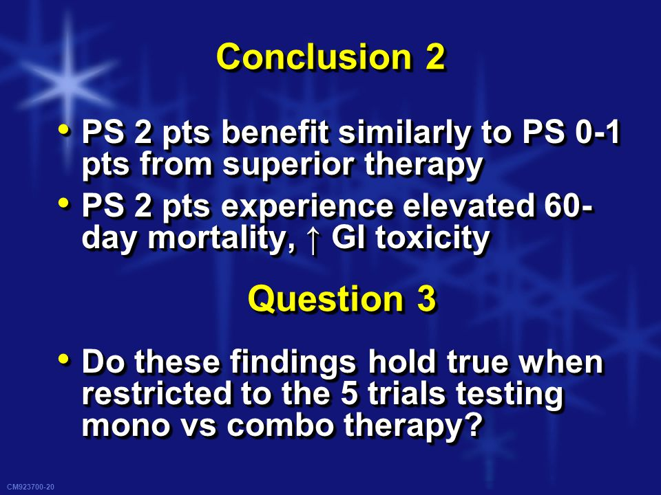 CM923700-20 Conclusion 2 PS 2 pts benefit similarly to PS 0-1 pts from superior therapy PS 2 pts benefit similarly to PS 0-1 pts from superior therapy PS 2 pts experience elevated 60- day mortality, ↑ GI toxicity PS 2 pts experience elevated 60- day mortality, ↑ GI toxicity Do these findings hold true when restricted to the 5 trials testing mono vs combo therapy.