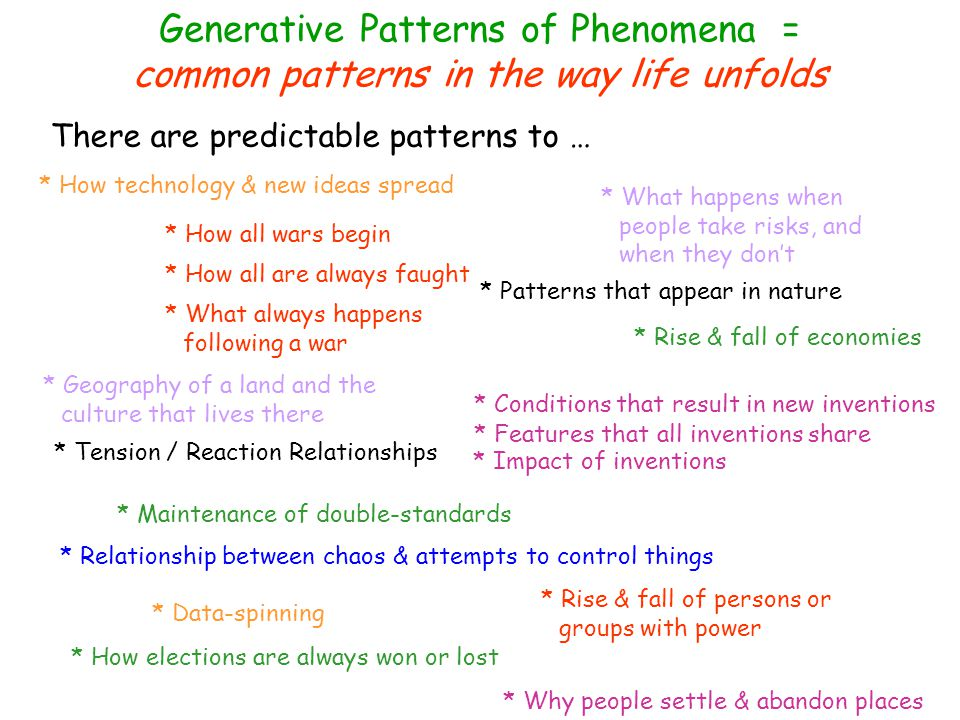 Generative Patterns of Phenomena = common patterns in the way life unfolds There are predictable patterns to … * How all wars begin * How war are always fought * What always happens following a war * Conditions that result in new inventions * Features that all inventions share * Impact of inventions * Relationship between chaos & attempts to control things * Data-spinning * How elections are always won or lost * What happens when people take risks, and when they don't * Rise & fall of economies * Rise & fall of persons or groups with power * Tension / Reaction Relationships * Patterns that appear in nature * Geography of a land and the culture that lives there * Maintenance of double-standards * Why people settle & abandon places * How technology & new ideas spread * Co-dependency