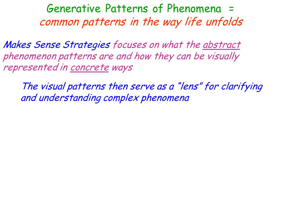 Generative Patterns of Phenomena = common patterns in the way life unfolds * Conditions that result in new inventions * Impact of inventions There are predictable patterns to … * How all wars begin * How all are always faught * What always happens following a war * Features that all inventions share * Relationship between chaos & attempts to control things * Data-spinning * How elections are always won or lost * What happens when people take risks, and when they don't * Rise & fall of economies * Rise & fall of persons or groups with power * Tension / Reaction Relationships * Patterns that appear in nature * Geography of a land and the culture that lives there * Maintenance of double-standards * Why people settle & abandon places * How technology & new ideas spread
