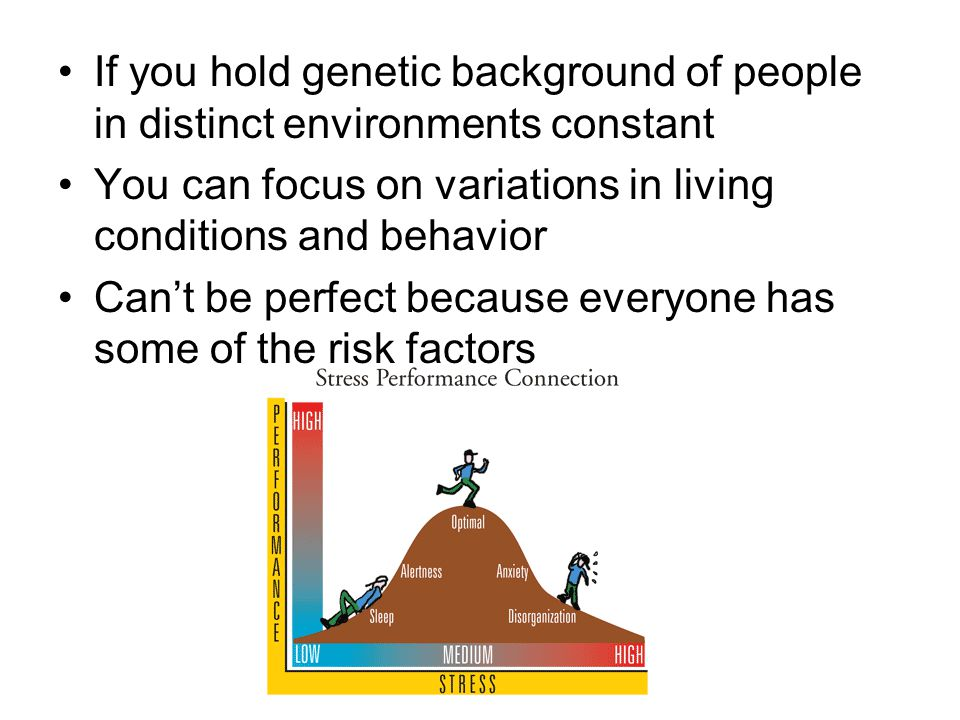 If you hold genetic background of people in distinct environments constant You can focus on variations in living conditions and behavior Can't be perfect because everyone has some of the risk factors