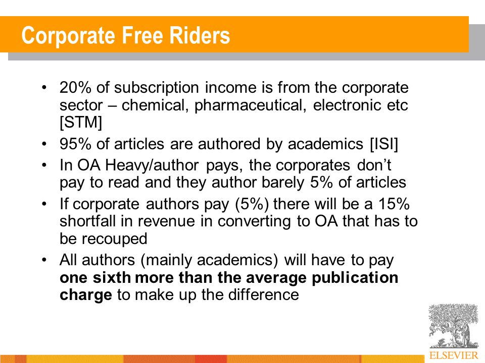Corporate Free Riders 20% of subscription income is from the corporate sector – chemical, pharmaceutical, electronic etc [STM] 95% of articles are authored by academics [ISI] In OA Heavy/author pays, the corporates don't pay to read and they author barely 5% of articles If corporate authors pay (5%) there will be a 15% shortfall in revenue in converting to OA that has to be recouped All authors (mainly academics) will have to pay one sixth more than the average publication charge to make up the difference