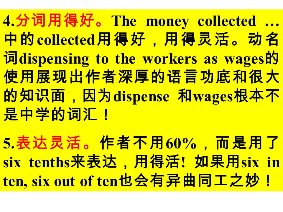 2 .用了很多的复杂结构。如:第三句 中的宾语从句中含有不定式复合结构。 第四句中的 if 从句。第五句中的 as follows 和其后的 but 连接的并列句, 以及第六句中的动名词短语 dispensing 等。可以说:句句出彩,有水平! 3 .使用了关联词 generally speaking, however, as follows, so 等使文章紧凑、 连贯。