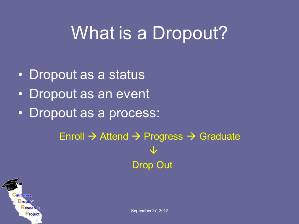 September 27, 2012 What is a Dropout.