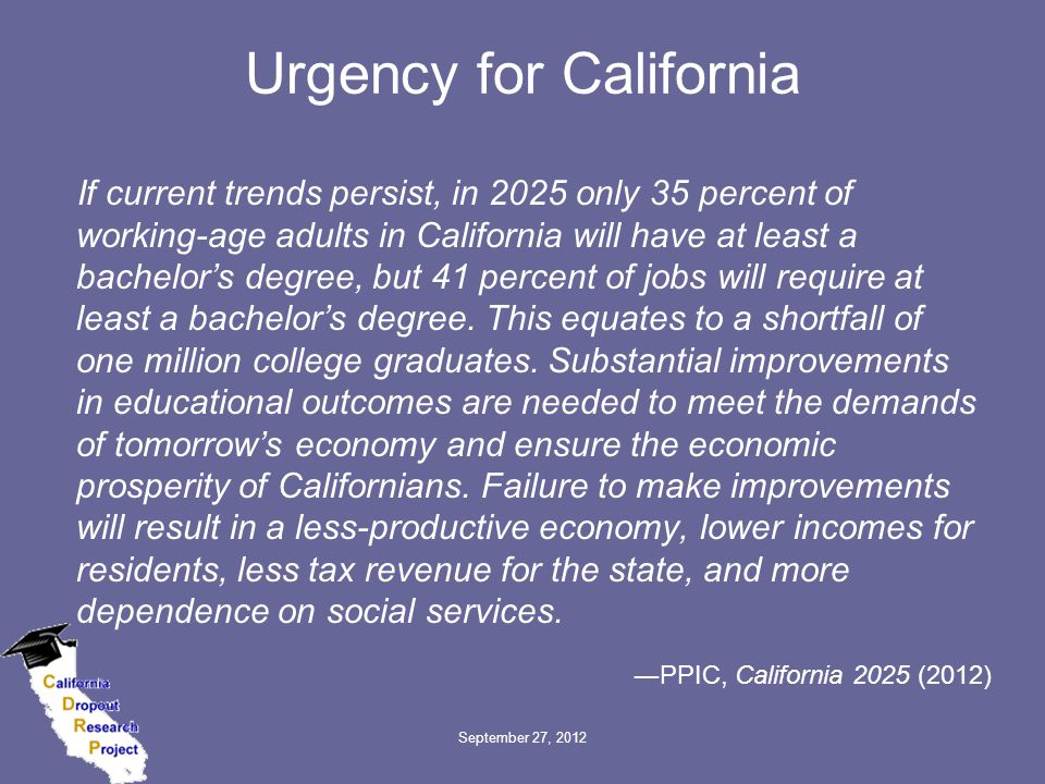 Urgency for California If current trends persist, in 2025 only 35 percent of working-age adults in California will have at least a bachelor's degree, but 41 percent of jobs will require at least a bachelor's degree.
