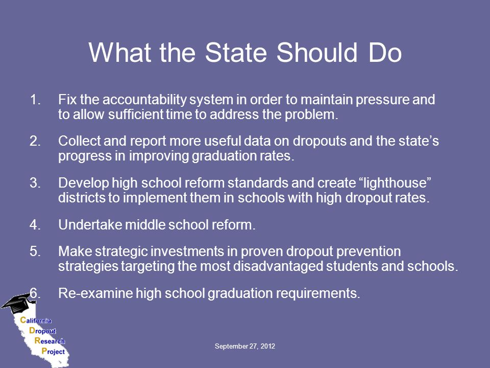 September 27, 2012 What the State Should Do 1.Fix the accountability system in order to maintain pressure and to allow sufficient time to address the problem.