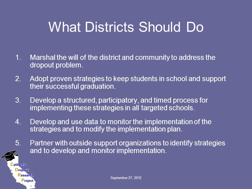 September 27, 2012 What Districts Should Do 1.Marshal the will of the district and community to address the dropout problem.