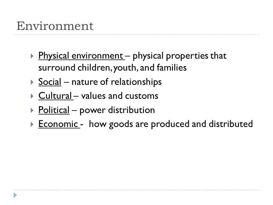 Environment  Physical environment – physical properties that surround children, youth, and families  Social – nature of relationships  Cultural – values and customs  Political – power distribution  Economic - how goods are produced and distributed
