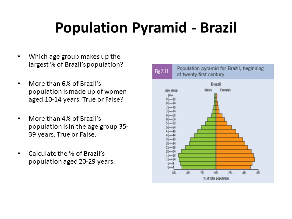 Population Pyramid - Brazil Which age group makes up the largest % of Brazil's population? More than 6% of Brazil's population is made up of women age